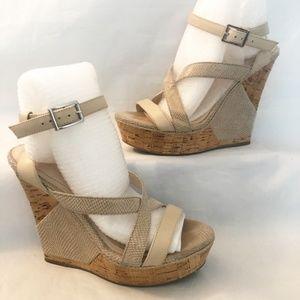 BCBGeneration High Heel Platform Wedge Sandal